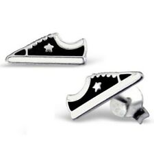 BLACK TRAINERS STERLING SILVER STUD EARRINGS - Converse Shoes FREE Gift Box