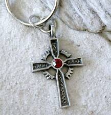 CHRISTIAN CROSS RED CRYSTAL Pewter KEYCHAIN Key Ring