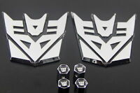 Pair of Transformer Decepticon Badges With Valve Caps