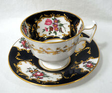 Rare Royal Doulton China Cobalt Blue + Gold Floral Spray Tea Cup and Saucer Set
