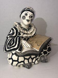 Vintage Harlequin Clown Handmade Paper Mache Black White Ruvalcaba Mexico