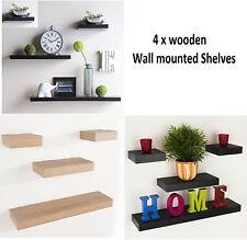 Set of 4 Wooden Floating Shelf Kit Wall Mounted Book Case Unit Wood CD Storage