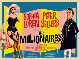 "The Millionairess 1960 repro UK quad poster 30x40"" Sophia Loren Chantrell FREEPP"