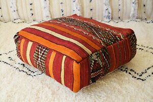 Moroccan Floor cushion, Moroccan red Vintage Handmade wool pouf, red kilim pouf