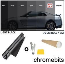 Tönungsfolie 76 x 300 Sonnenschutzfolie Licht SCHWARZ 50% Autofolie Fensterfolie