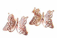 2 x Rose Gold Butterfly Hair Clips Grips Bridesmaid Vintage Hair Accessories 187