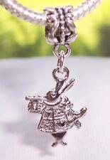 White Rabbit Castle Fairytale Heart Coat Dangle Charm for European Bead Bracelet