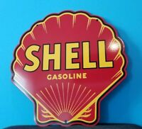 VINTAGE SHELL GASOLINE RED PORCELAIN GAS SERVICE STATION PUMP PLATE SIGN