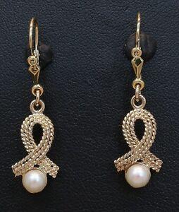 9 Carat Yellow Gold Fancy Pearl Drop Earrings 9CT (80.21.021)