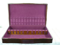 Vtg Art Deco Sterling Flatware Walnut Wood Storage Chest Case Box Burgundy felt