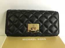 MICHAEL KORS Leather Carry All Astrid Wallet Quilted Black BNWT Box