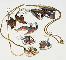 Vintage Assorted Cloisonne Earring Lot Butterfly Humming Bird Flowers