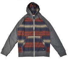 Quiksilver Big Boys Heather Grey Stripe Hoodie Size 12 (Medium) $40