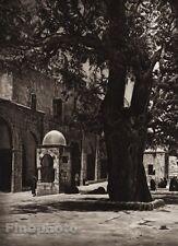 1925 Vintage JERUSALEM Temple Place Fountain Tree Landscape ISRAEL Palestine Art