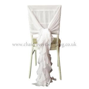100 White Chiavari Chair Cover Hood & Ruffle Tail Set Wedding