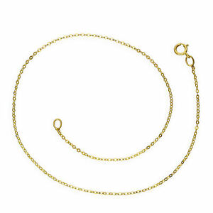 9ct Yellow Gold Hammered Trace Anklet 9.5 Inches
