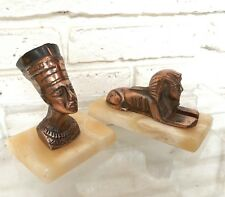 Vintage NEFERTITI & Sphinx Bronze Bust Marble Base Heavy Decorative Egyptian
