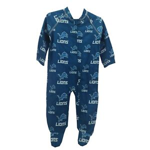 Detroit Lions Official NFL Baby Toddler Infant Size Pajama Sleeper Bodysuit New