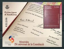 Spanish Andorra 2018 MNH Constitution 25th Anniversary 1v M/S Stamps