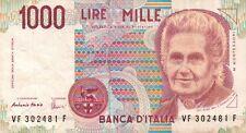 BANCONOTA ITALIANA DA 1000 LIRE MONTESSORI SERIE VF 302481 F SC-7