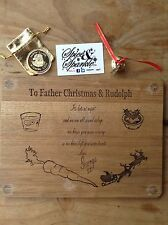 Christmas Eve Treat Board Santa Plate Personalised & Wishing Coin & Believe Bell