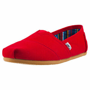 Toms Classic Mens Red Canvas Slip On Shoes