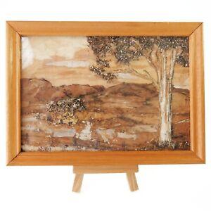 Vintage Handmade Framed Tree Bark Wood Image Art, Australian Outback Scene