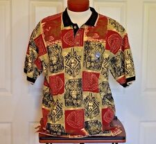 Greg Norman Polo Short Sleeve Shirt Men's Size L Geo Print Pelican Nest Patch