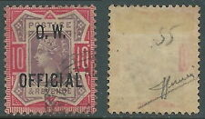 1886-1902 GREAT BRITAIN USED OFFICIAL STAMPS O35 10d DULL PURPLE AND CARMINE
