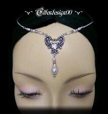 ~ v ~ Front Bijoux ° pearl ° latex ° HDR ° LOTR ° Circlet ° Arwen ° tiara ° diadème ° blanc ° strass ~ v ~