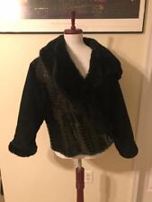 Vintage 1990s GIANNI VERSACE Black Shearling & Alligator Skin Coat Jacket