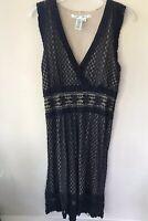 Max Studio Women's Dress Size M Medium Black Lace Overlay Fit Flare Sleeveless