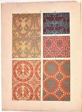 Stampa antica DECORAZIONI TESSUTI STOFFE Tav 6 ippogrifo 1883 Old antique print