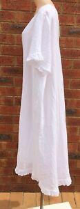 A Line White Frill Sleeve & Hem Linen Dress NWT sizes 12 14 16 18 20