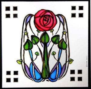 Winged Heart presented by Celtic Glass Designs Static Window Cling in a Rose and