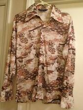 Awesome Vintage DONEGAL Men L Rockabilly Butterfly Collar Shirt Hippie Poly C020