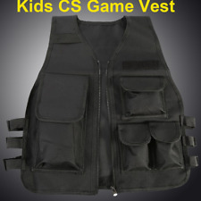 Children Kids CS Game Airsoft Molle Plate Carrier Tactival Body Armor Vest Black