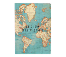 Sass & Belle  Vintage World Map Travel A5 Notebook Note Pad Plain Paper Journal