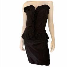 Vintage Karen Okada Climax 1980s Strapless Ruffle Dress Taffeta S/M Black Wave