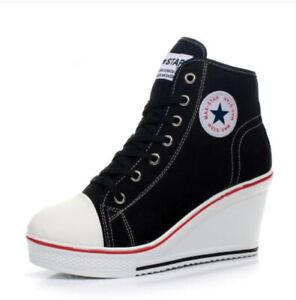 Baskets sneakers noires montantes compensées à lacets pour femme talon haut 8 cm