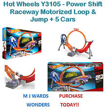 Hot wheels Y3105-power shift raceway motorisé boucle & jump + 5 voitures