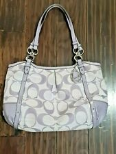 Coach Lilac Purple Lavender Alexandra Signature Satchel Shoulder Purse Bag Euc