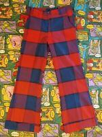 Vtg 60s 70s Farah Mens Red Plaid BELL BOTTOM Flare Leg Disco Pants 32x32