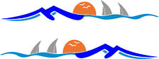 CARAVAN / MOTORHOME | Back Rear Sticker/Decal | Mountain Range,Sun, Sea | BB219
