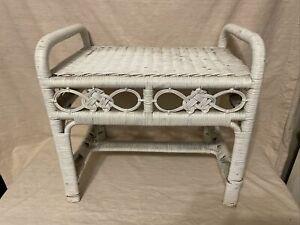 Vintage Original Wicker Rattan Boho Cottage Desk Vanity Seat Stool Bench