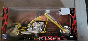 1/12 Custom Bikes New Ray Chopper Yellow plastic diecast adult collectibles