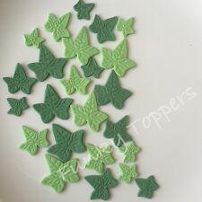 18 Edible Fondant Veined Ivy Leaves 3 Sizes 2 Shades Green Cake Sugarpaste