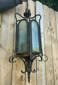 Antique Chandelier Ceiling Porch light Ice Frosted Glass Vtg Brass Iron 198-20J