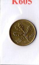 K605 Moneta Coin ITALIA Repubblica Italiana 20 Lire 1971 Ramo di Quercia