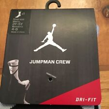 Nike Mens jordan Dri-Fit JumpMan Crew Socks Size 3y-5y Color Black/Grey New
